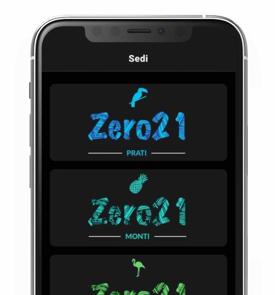 Screen sezione sedi dell'applicazione Zero21Brazilian Sushi Bar realizzato da Daniele Fumanti